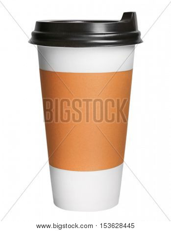 Coffee-to-go. Paper cup of coffee isolated on white