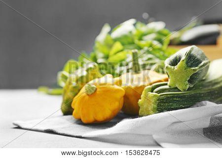 Fresh assorted squash on napkin