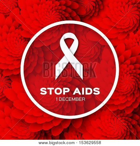 Aids Awareness. Ribbon. World Stop Aids Day on red origami flower background with frame. Vector design illustration.