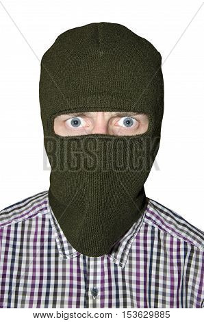 Man in mask and shirt isolated on white background