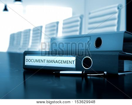 Ring Binder with Inscription Document Management on Black Table. Document Management. Business Illustration on Blurred Background. Document Management - Business Concept on Toned Background. 3D.