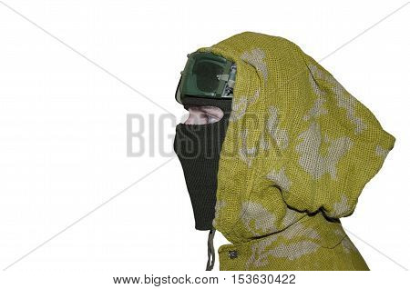 Man in mask, hood, and glasses isolated on white background