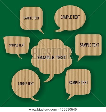 Form speech bubble for think green environment.Cardborad eco material.Can used for iconsignsymbolbannerleafletinfographic and presentation business concept.