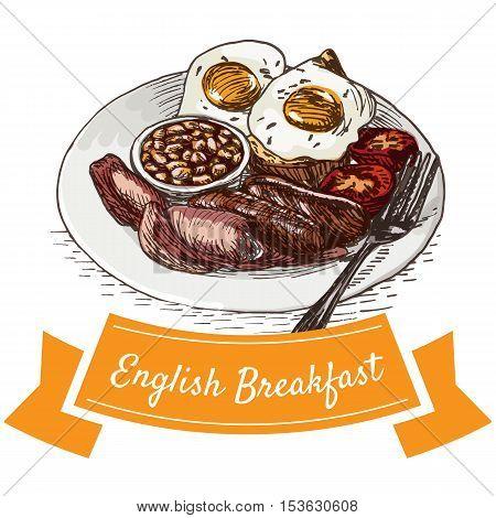 English breakfast colorful illustration. Vector illustration of breakfast.
