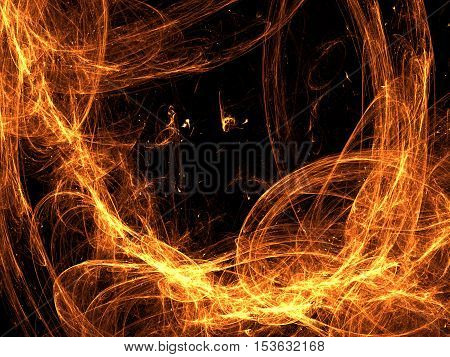 Abstract fire frame computer-generated image. Fractal art: chaos glowing orange strokes like flame in dark. Background with copyspace or graphic design element.