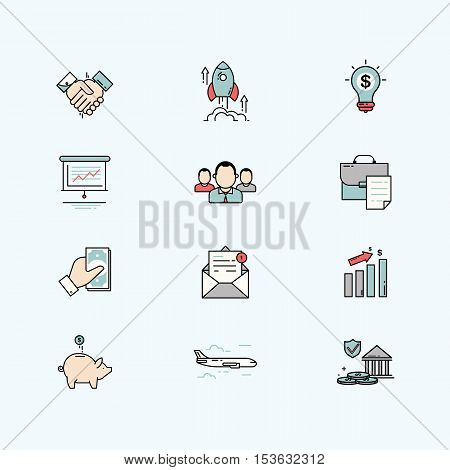 Business and finance line icons with flat design elements. Vector illustration.