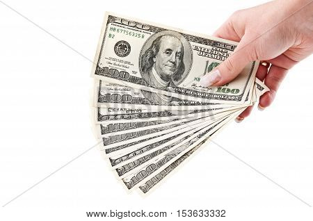 Woman Holding A Bundle Of Dollars