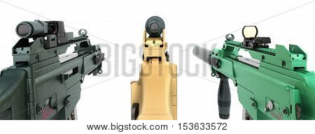 Three Machine Look At The Goal And The Concept Of Offensive Attacks 3D Render On A White Background