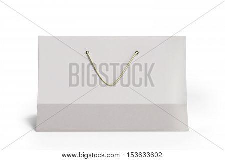 White Paper Bag 3D Render On White
