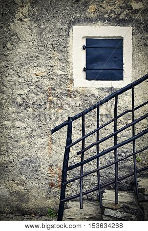 background Still life with old stone wall with railings