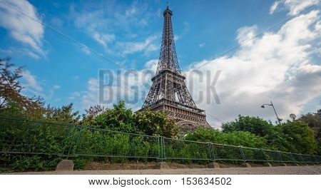 Perspective View of The Eiffel Tower in Paris against blue sky, France