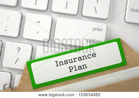 Insurance Plan. Green Card File Concept on Background of Computer Keyboard. Archive Concept. Closeup View. Selective Focus. 3D Rendering.