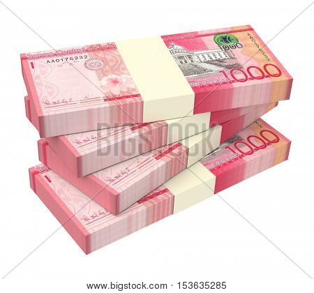 Dominican peso bills isolated on white background. 3D illustration.