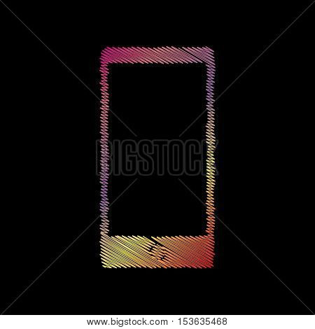 Abstract Style Modern Gadget With Blank Screen. Template For Any Content. Coloful Chalk Effect On Bl