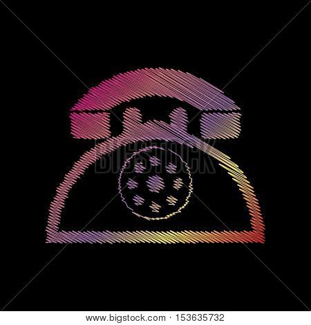 Retro Telephone Sign. Coloful Chalk Effect On Black Backgound.