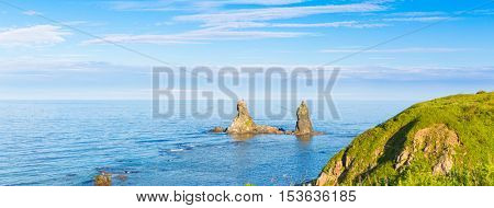 Two brothers rock. Japanese sea. Far East. Russia. Panorama
