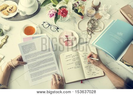 Writing Working Information Women Casual Concept