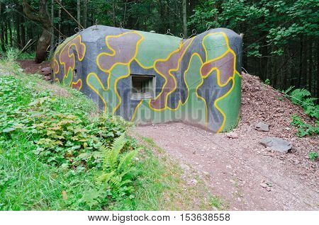 Old military bunker built before WWII in Krkonose mountains in Czech Republic
