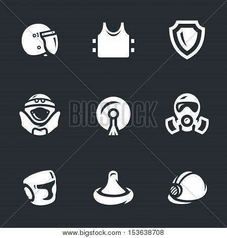 Police helmet, body armor, shield, suit, stikine, mask, boxing helmet, condom, hard hat.