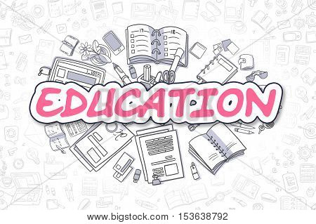 Doodle Illustration of Education, Surrounded by Stationery. Business Concept for Web Banners, Printed Materials.