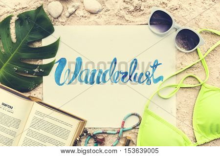 Wanderlust Beach Summer Holiday Vacation Bikini Sunglasses Concept