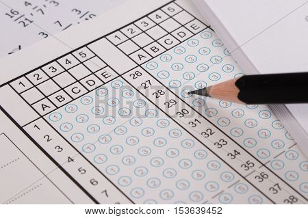 Standard Test Form Or Answer Sheet. Answer Sheet Focus On Pencil. Bubble Anser Sheet With Blank Answ