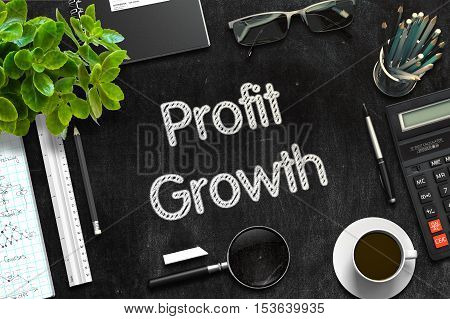 Profit Growth Handwritten on Black Chalkboard. Top View Composition with Black Chalkboard with Office Supplies Around. 3d Rendering. Toned Illustration.