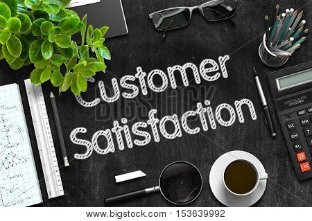 Customer Satisfaction Handwritten on Black Chalkboard. 3d Rendering.