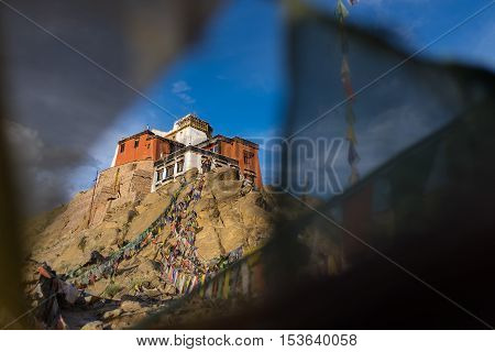 Namgyal Tsemo Gompa with prayer flags - Leh - Ladakh - Jammu and Kashmir - India