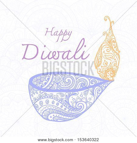 Hand drawn happy Diwali and oil lamp on white background.