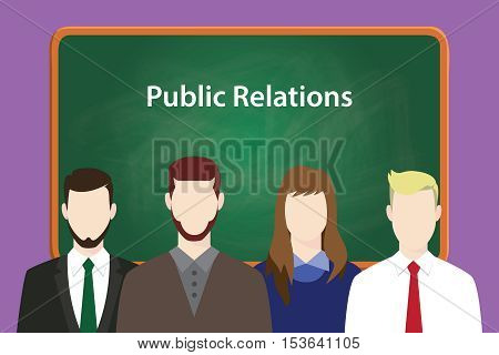 public relations illustration concept with business man and woman lining up together in front of blackboard or green board vector