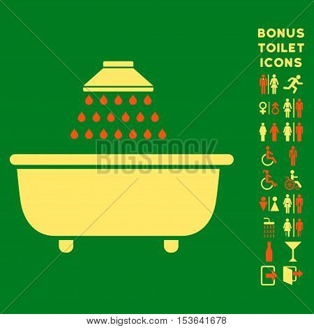 Bath Shower icon and bonus man and female lavatory symbols. Glyph illustration style is flat iconic bicolor symbols, orange and yellow colors, green background.