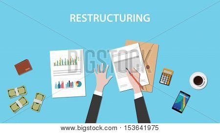 restructuring illustration concept with business man working on paperwork document graph chart cash money on top of the table vector