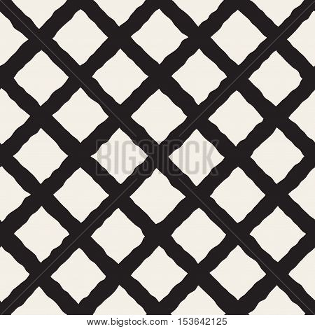 Vector Seamless Black and White Hand Drawn Rhombus Pattern. Abstract Freehand Background Design