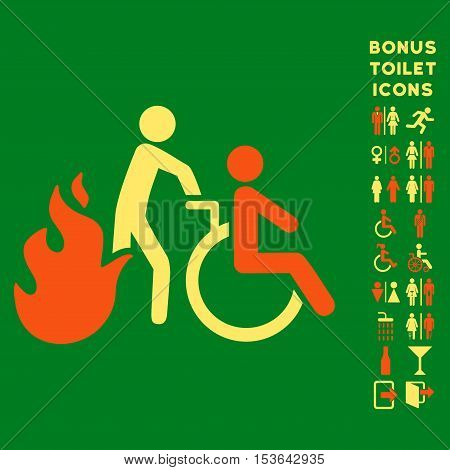 Fire Patient Evacuation icon and bonus man and lady restroom symbols. Glyph illustration style is flat iconic bicolor symbols, orange and yellow colors, green background.