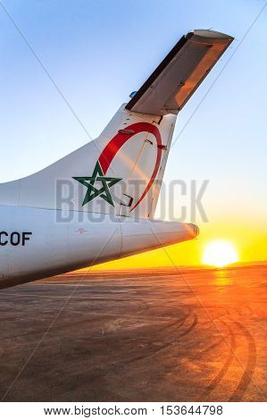 Ouarzazate, Morocco - Feb 28, 2016: Tail Of The Cargo Plane Of The Airline Royal Air Morocco
