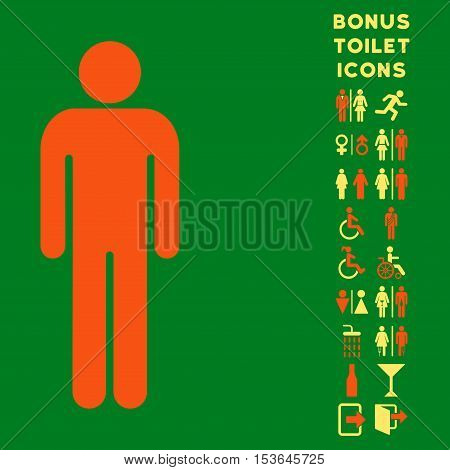 Man icon and bonus man and woman lavatory symbols. Glyph illustration style is flat iconic bicolor symbols, orange and yellow colors, green background.
