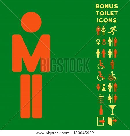 Man icon and bonus gentleman and lady WC symbols. Glyph illustration style is flat iconic bicolor symbols, orange and yellow colors, green background.