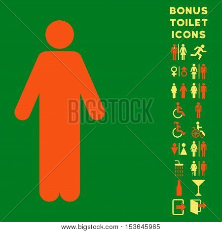 Man icon and bonus male and woman lavatory symbols. Glyph illustration style is flat iconic bicolor symbols, orange and yellow colors, green background.