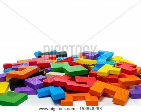 colorful wooden puzzle for kid on white background