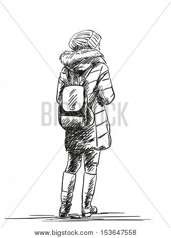Sketch of standing woman wearing down jacket, Hand drawn illustration