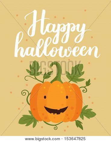Vector Halloween Illustration With Cute Pumpkin And Happy Halloween Lettering. Vintage Background Ca