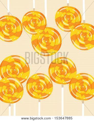 Vector Illustration With Autumn Lollipops. Orange Candy On Beige Background.