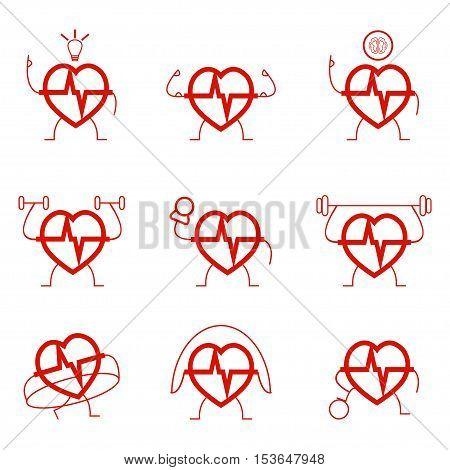 Heart power set health cardio sports gymnastic exercises - vector