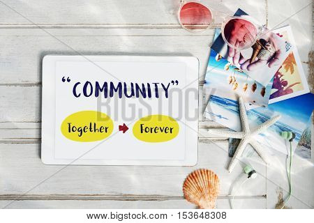 Display Tablet Positive Words Concept