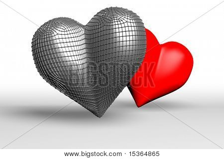 Cold and hot hearts. 3D-render image.