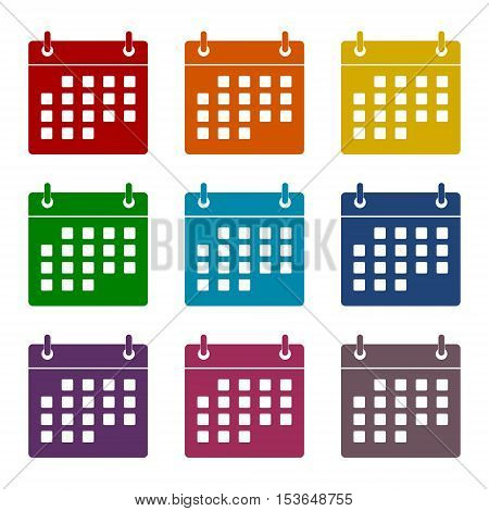 Simple vector Calendar icons set on white background