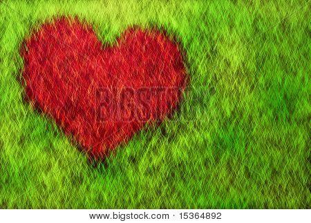 Heart on grass. Illustration.