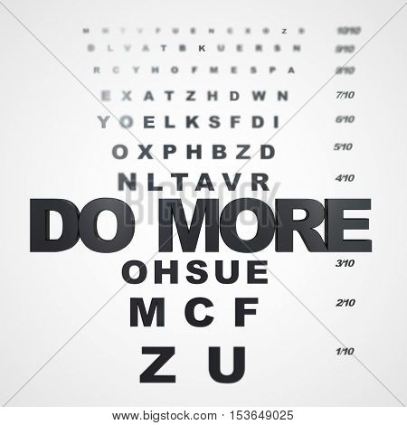 Blurred eye chart with the words do more on focus