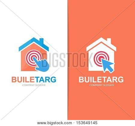 Vector house and click logo combination. Real estate and cursor symbol or icon. Unique apartment and rent agency logotype design template.